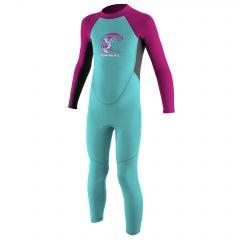 O'Neill Toddler Reactor-2 2mm Back Zip Full Wetsuit Girls Ltaqua/Graph/Berry