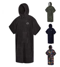 Mystic Poncho Velour Black Front | Robin Hood Watersports