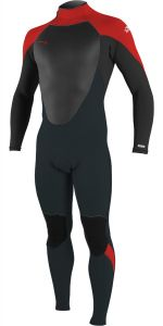 O'Neill Youth Epic 4/3 Back Zip Full Wetsuit Gunmetal/Black/Red
