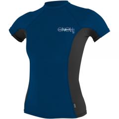 O'Neill Womens Skins S/S Rash Guard Deepsea/Blk/Deepsea